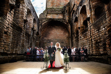 Walking up the aisle at Linlithgow Palace.